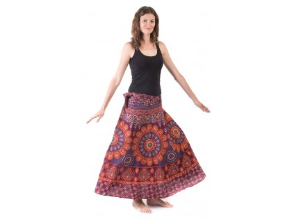 Bavlněná zavinovací sukně s ručním tiskem vínová