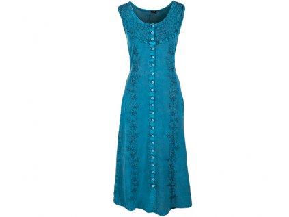 Dlouhé propínací šaty tyrkysové