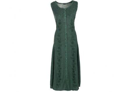 Dlouhé propínací šaty tmavozelené