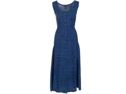 Dlouhé propínací šaty tmavomodré