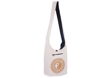 Látková taška přes rameno Gold&Nature white Jin jang