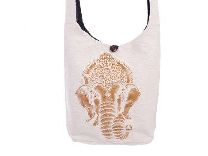 Látková taška přes rameno Gold&Nature white Ganesh