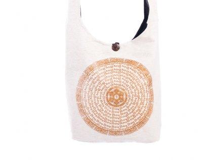 Látková taška přes rameno Gold&Nature white Óm mani padmé húm