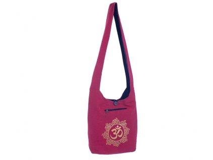 Látková taška přes rameno Gold&Maroon Óm