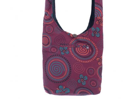 Látková taška přes rameno Kvítka a spirály vínová