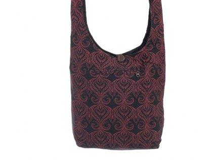 Látková taška přes rameno černočervená