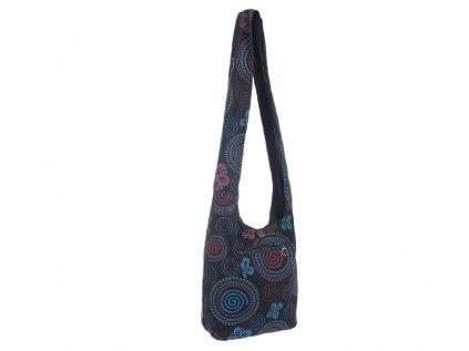 Látková taška přes rameno Kvítka a spirály černá