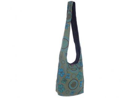 Látková taška přes rameno Kvítka a spirály zelená