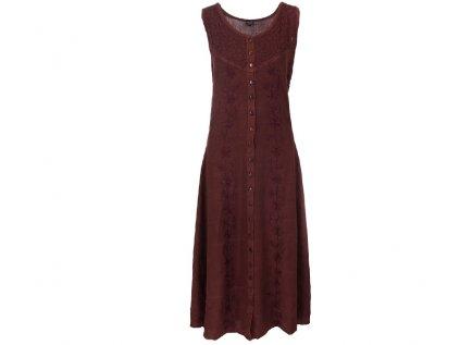 Dlouhé propínací šaty hnědé