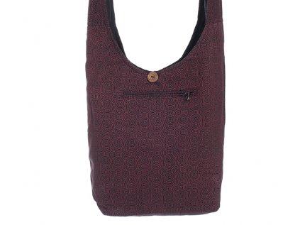 Látková taška přes rameno Spirálky černočervená