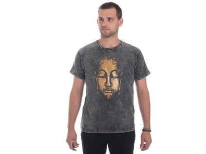 Pánské tričko stonewash Buddha šedé