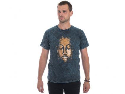 Pánské tričko stonewash Buddha modré