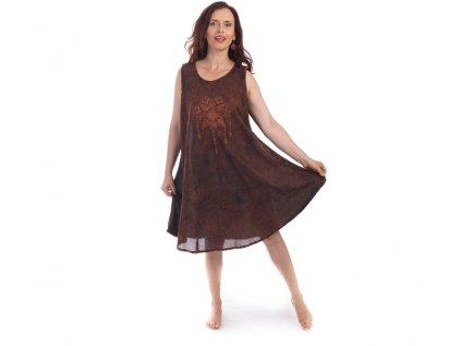 Bavlněné šaty Lapač snů rezavě hnědé