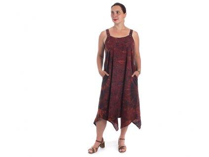 Batikované šaty na ramínka červené