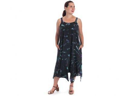 Batikované šaty na ramínka černé