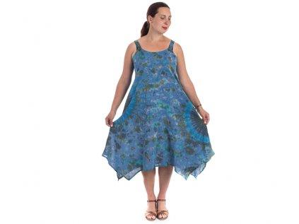 Batikované šaty na ramínka modré