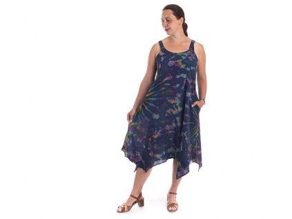 Batikované šaty na ramínka tmavomodré
