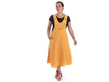 Originální šaty s laclem žlutohnědé