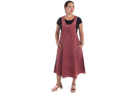 Originální šaty s laclem vínové