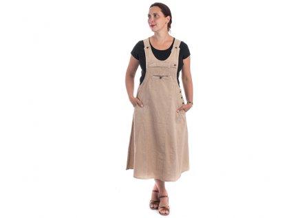 Originální šaty s laclem hnědošedé