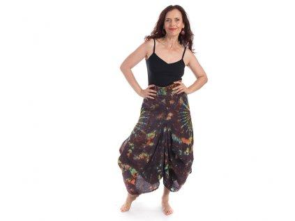 Batikovaná sukně stonewash hnědá