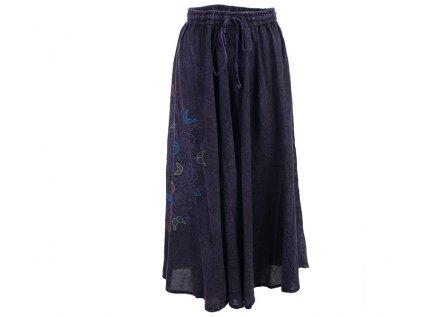 Dlouhá bavlněná sukně stonewash Mandala fialová