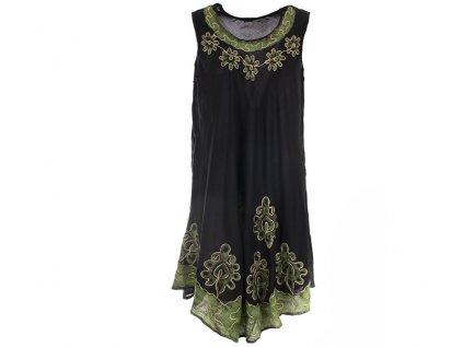 Černozelené batikované šaty