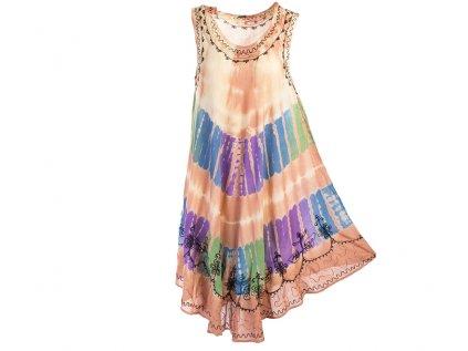 Kávově hnědé batikované šaty s výšivkou