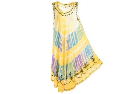 Žluté batikované šaty s výšivkou