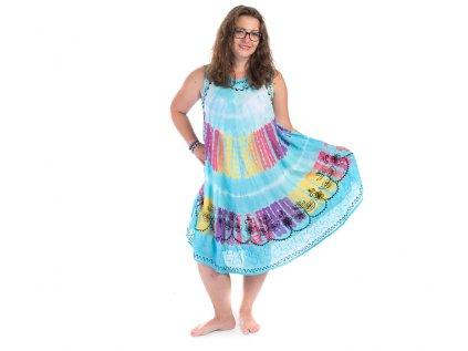 Světle modré batikované šaty s výšivkou