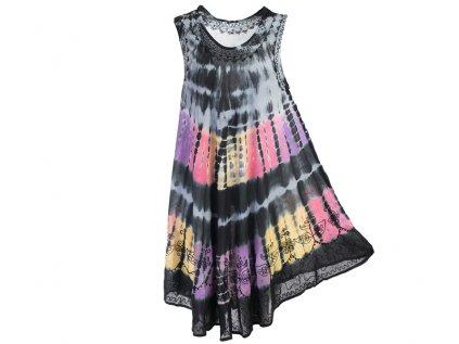 Černé batikované šaty s výšivkou