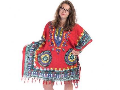 Tunika Africa style červená s modrou2