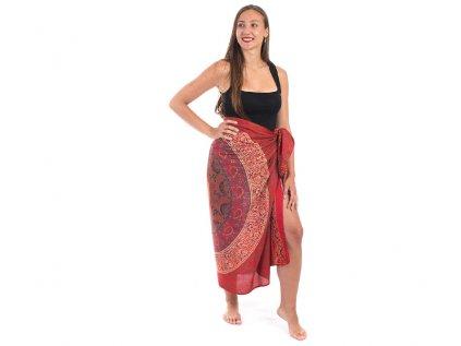 Sárong s ručním tiskem Mandala červený