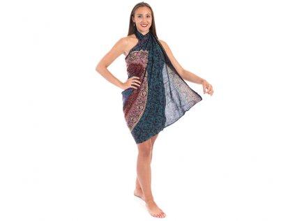 Sárong s ručním tiskem Mandala mahagonově hnědý