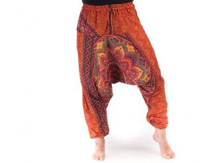 Harémové kalhoty s ručním tiskem Mandala žlutočervené