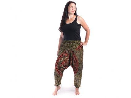 Harémové kalhoty s ručním tiskem Mandala žlutomodré