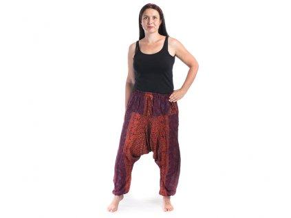 Harémové kalhoty s ručním tiskem Mandala vínové