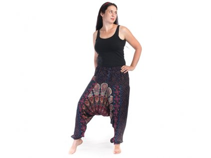 Harémové kalhoty s ručním tiskem Mandala tmavomodré