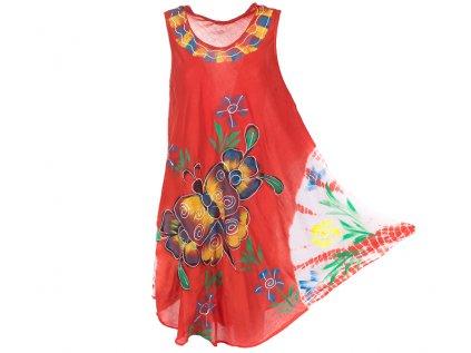 Ručně malované šaty červené s motýlem