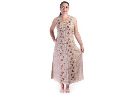Dlouhé propínací šaty světle hnědé s výšivkou