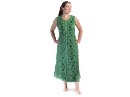 Dlouhé propínací šaty zelené  s květinovou výšivkou