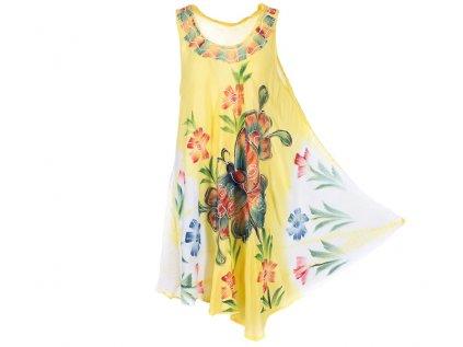 Ručně malované šaty žluté s motýlem