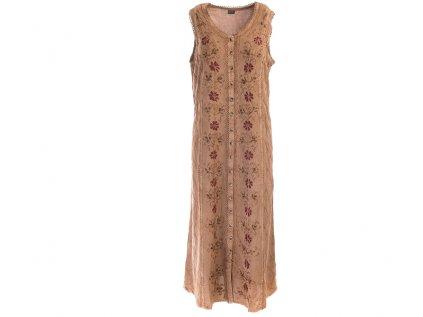 Dlouhé propínací šaty světle hnědé s květinovou výšivkou