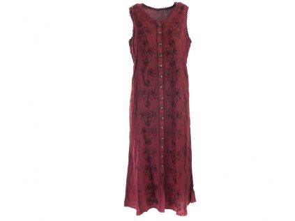 Dlouhé propínací šaty vínové s květinovou výšivkou