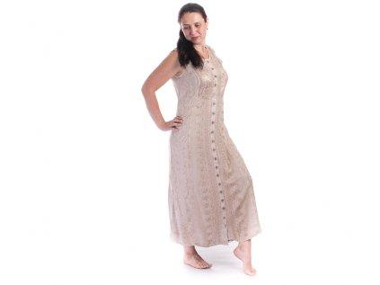 Dlouhé propínací vyšívané šaty krémové