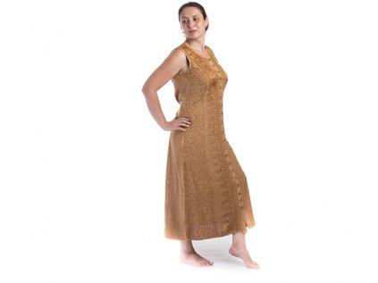 Dlouhé propínací vyšívané šaty hnědé