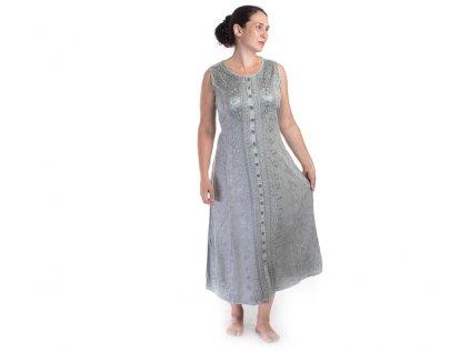 Dlouhé propínací vyšívané šaty světle šedé