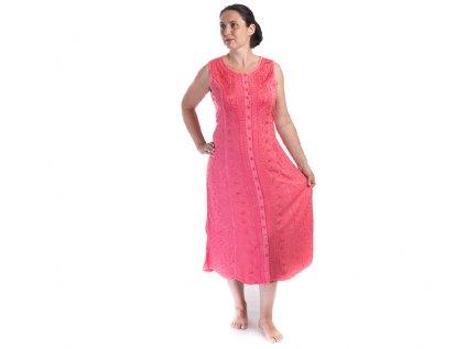 Dlouhé propínací vyšívané šaty růžové
