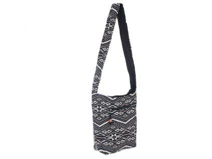 Taška přes rameno India Folk černobílá