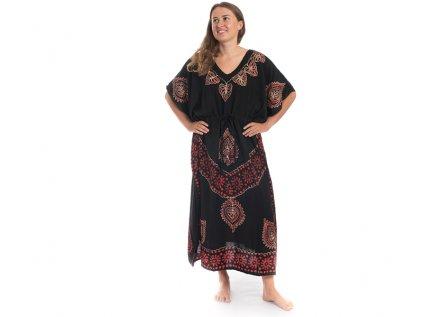 Dlouhé kaftanové šaty černočervené Listy